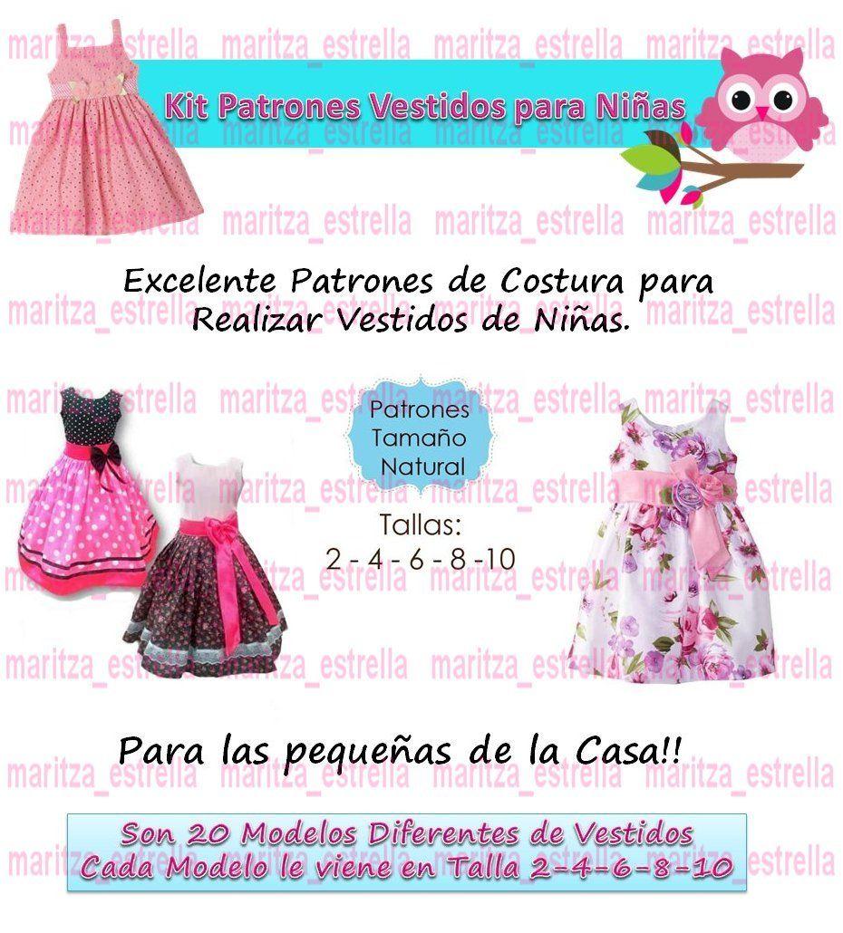 Patrones De Vestidos Para Niñas Todas Las Tallas Moldes Bebe - Bs ...