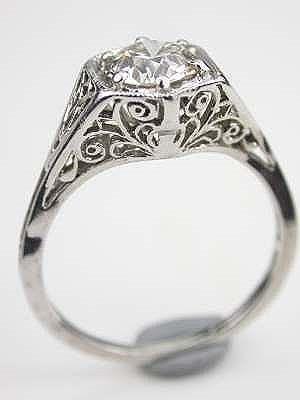 1920 S Antique Diamond Engagement Ring Rg 3428 European Cut Diamonds Clarity And Filigree