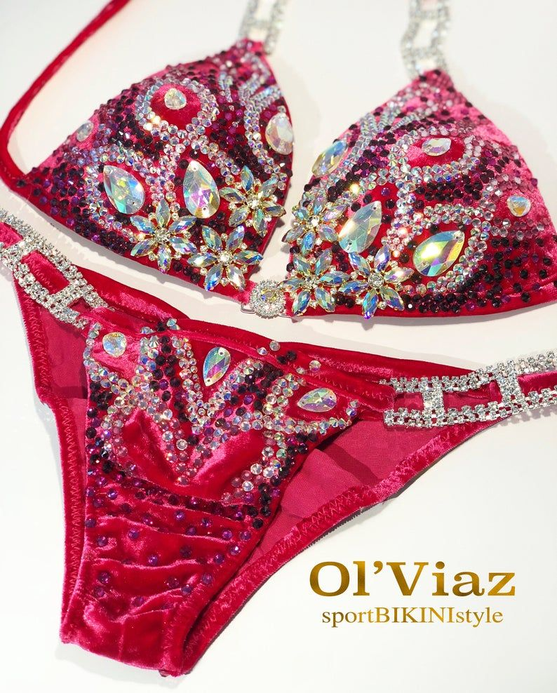 COMPETITION  BIKINI POSING SUIT WITH CRYSTAL RHINESTONE CONNECTORS STUNNING