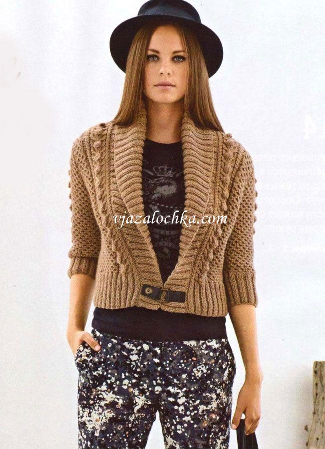 Короткий жакет с шалевым воротником | swetry | Pinterest | Tejido ...