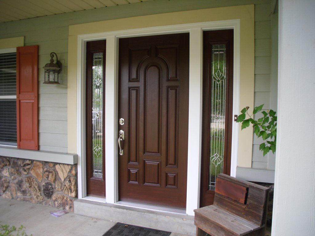 creative inspiration door designs for houses. Awesome Brown Wood Panel Masonite Exterior Entry Doors Design Collections  with Creative Pattern Door Slab Style and Half Glass Double Side Lite also A door salesperson said that these days doors are composites due