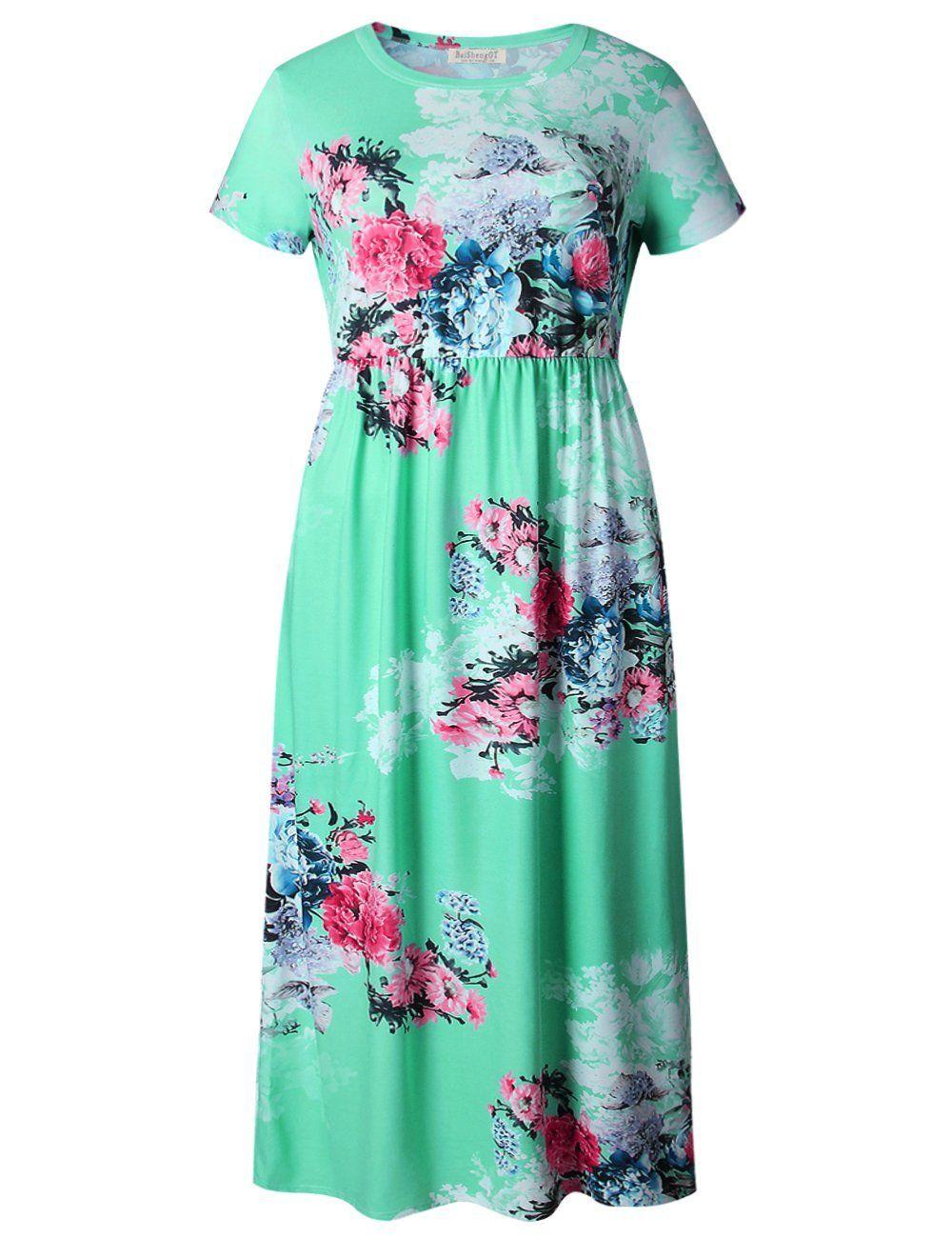 Print summer long dress womenus short sleeve plus size o neck a