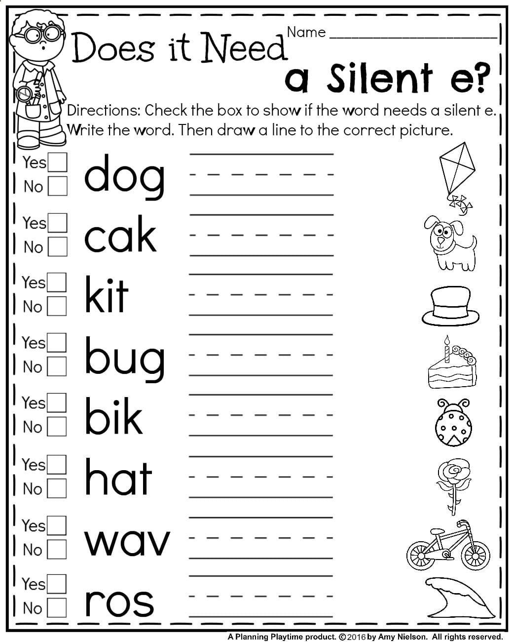First grade silent e worksheets for summer amazing reading