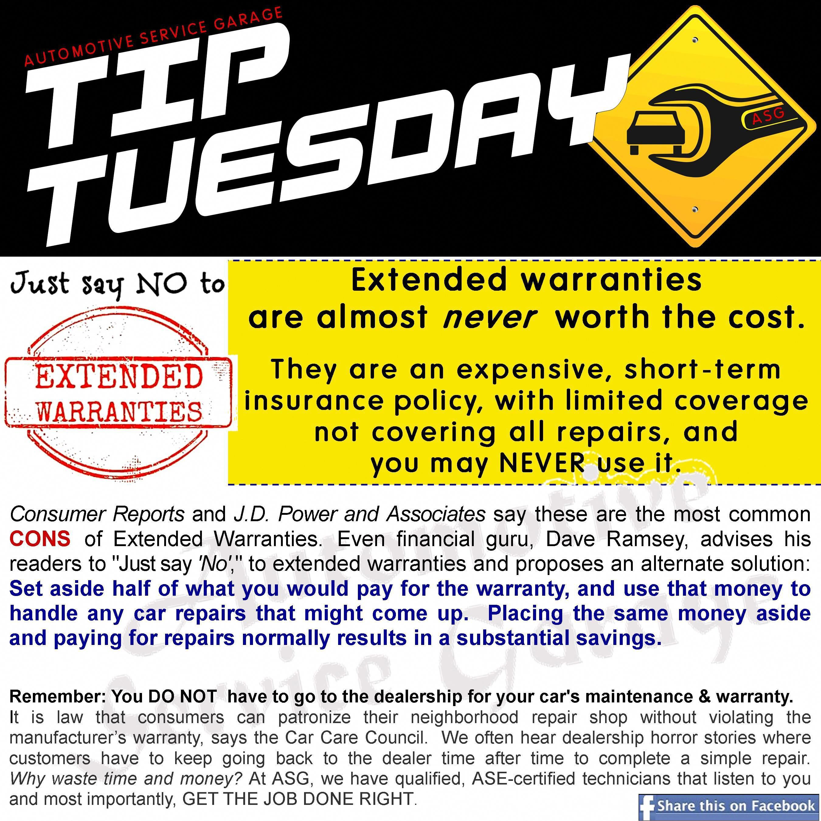 Car Care Tip Extended Warranties Are Almost Never Worth The Cost