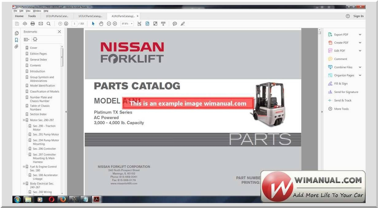 nissan forklift part catalog model a1n1nissan north america a1n1 three wheel electric forklift parts manual link [ 1233 x 680 Pixel ]
