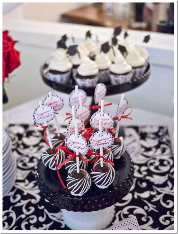 Red and black graduation centerpieces ideas sticky
