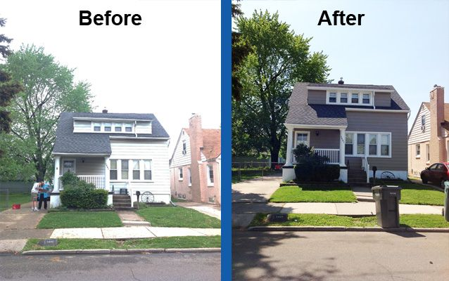 Painted Vinyl Siding Before And After Aluminum Siding Painting Before And After Siding Paint House Exterior Facade House