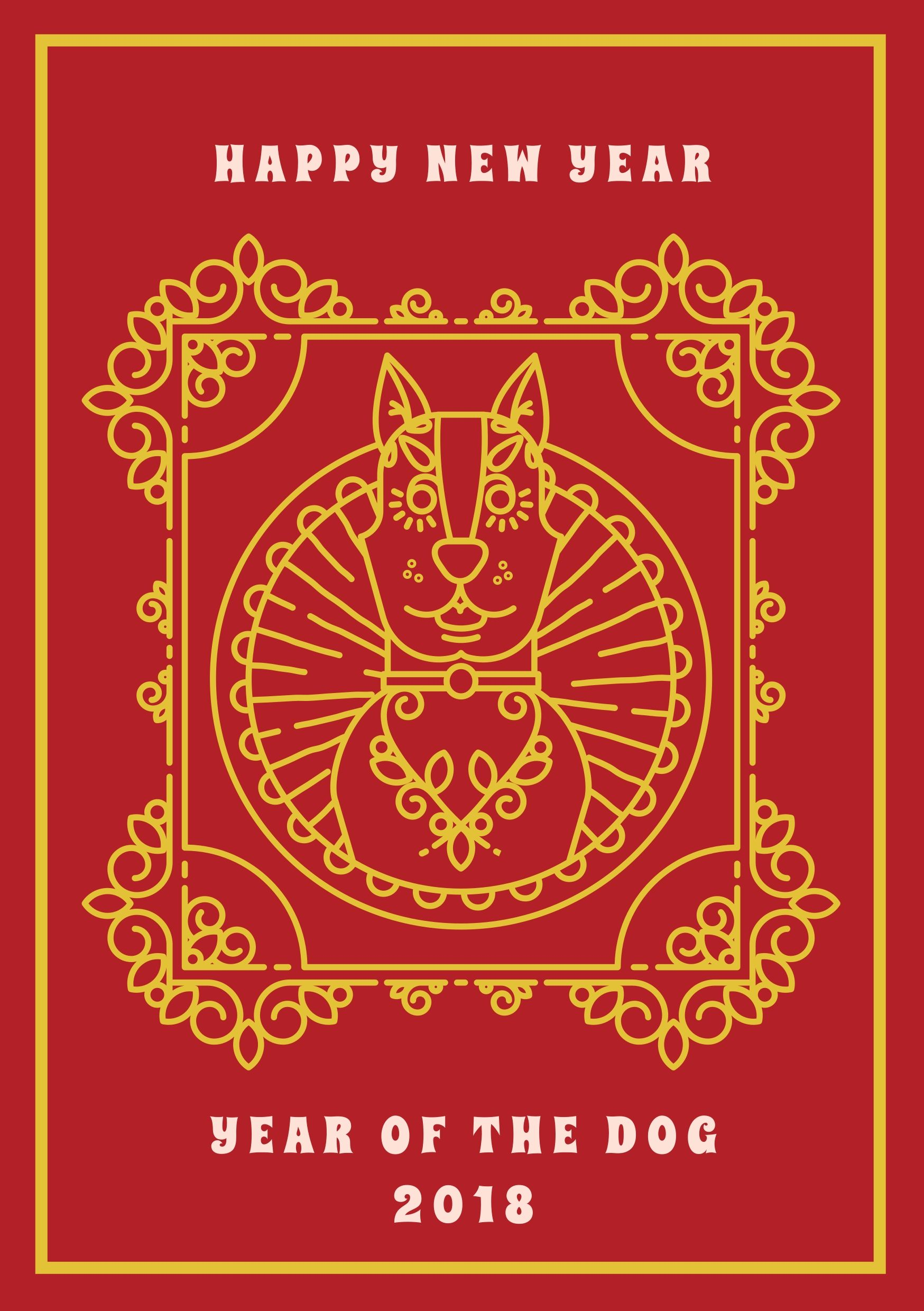 A ready to print Chinese New Year greeting card with a