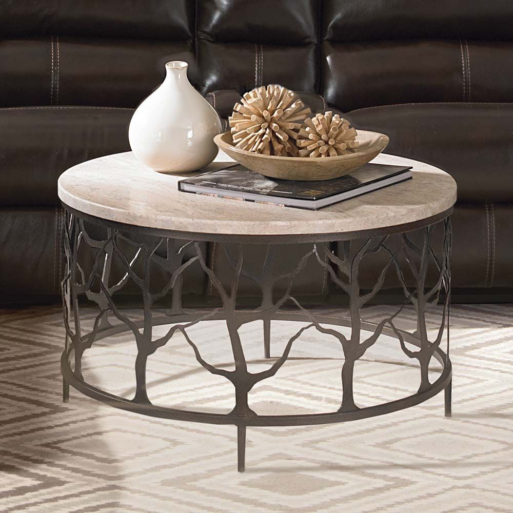 Travertine Round Twig Cocktail Table Ottoman Coffee Table Table Twig Furniture [ 1000 x 1000 Pixel ]