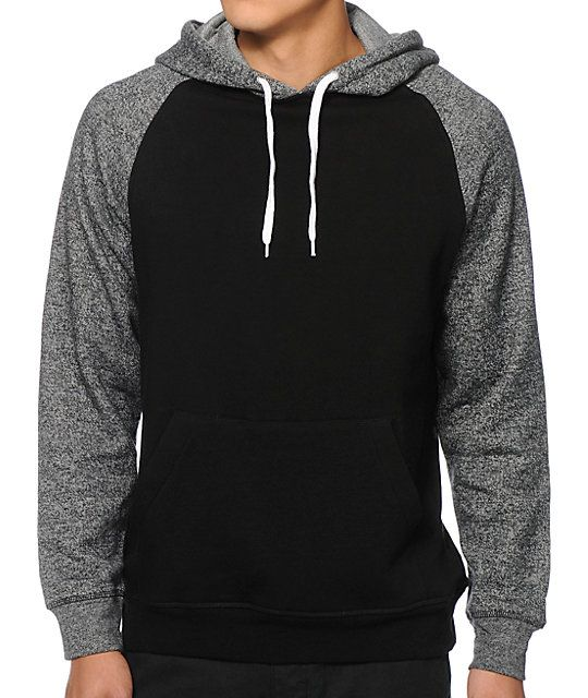8490cf070bb70 Update your hoodie game with ash raglan sleeves that provide two tone  contrast against the black body.