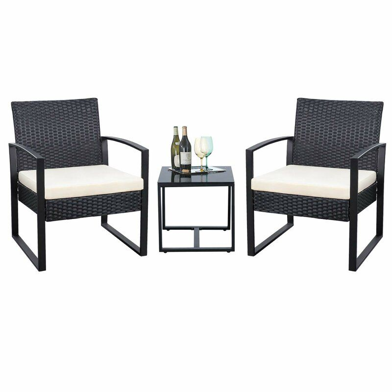 Beoll 3 Piece Rattan Seating Group With Cushions In 2020 Balcony Furniture Patio Furniture Sets Wicker Patio Furniture Sets