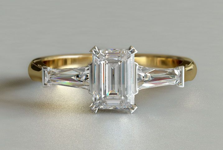 Gold Emerald Cut Engagement Rings Ringscladdagh