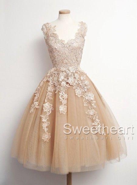 Retro Tulle Lace Short Prom Dresses- Formal Dresses -prom -dress ...