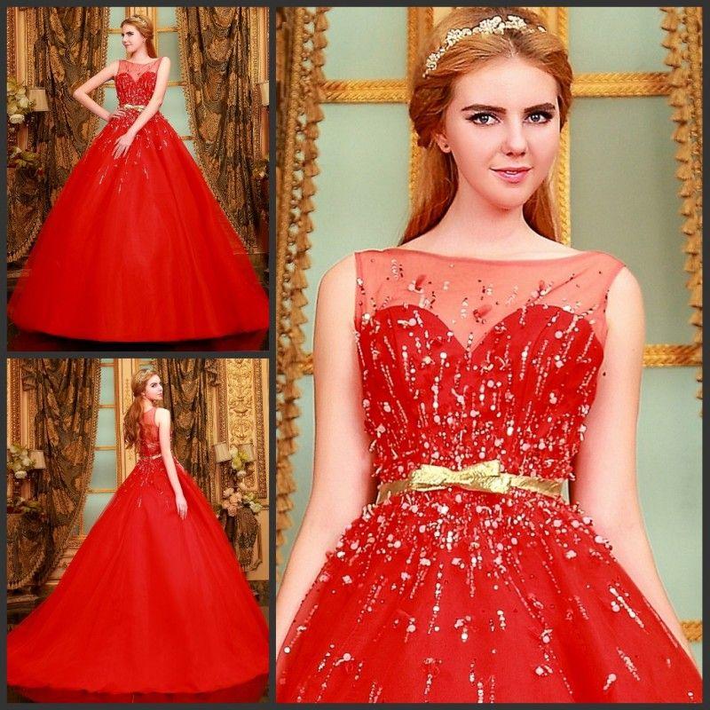 #Prinzessin-Stil #Herz-Ausschnitt Perlen mit Band aus #Chiffon #langes #Brautkleid - Teamomode.com