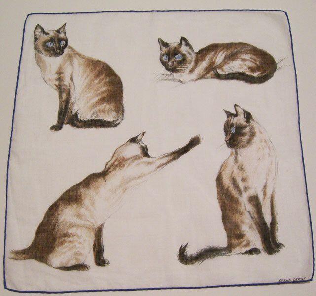 Vintage Dessin Depose Linen Cat Hankie by murdups on Etsy https://www.etsy.com/listing/171288550/vintage-dessin-depose-linen-cat-hankie