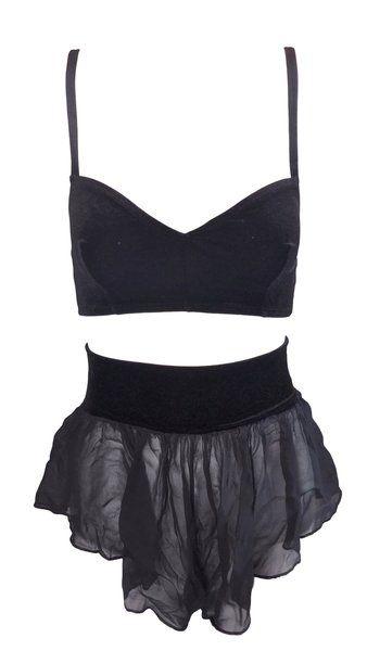 6089d34b1c 1980 s Dolce   Gabbana Black Velvet Bra Top   Sheer Black Silk Shorts Set  40 XS