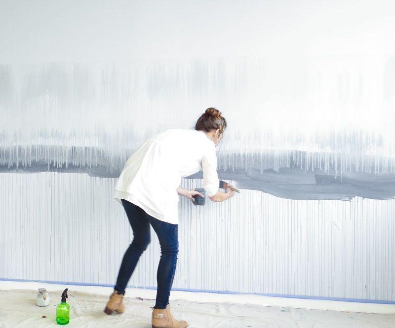 Dann die Farbe auch mit Wasser besprühen, um diesen Effekt zu - wandgestalten mit farbe