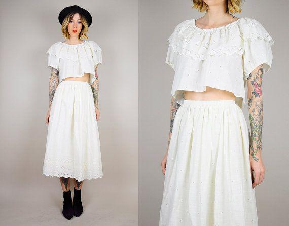 eyelet lace CROP TOP 2 piece matching set outfit 80's High Waist ...