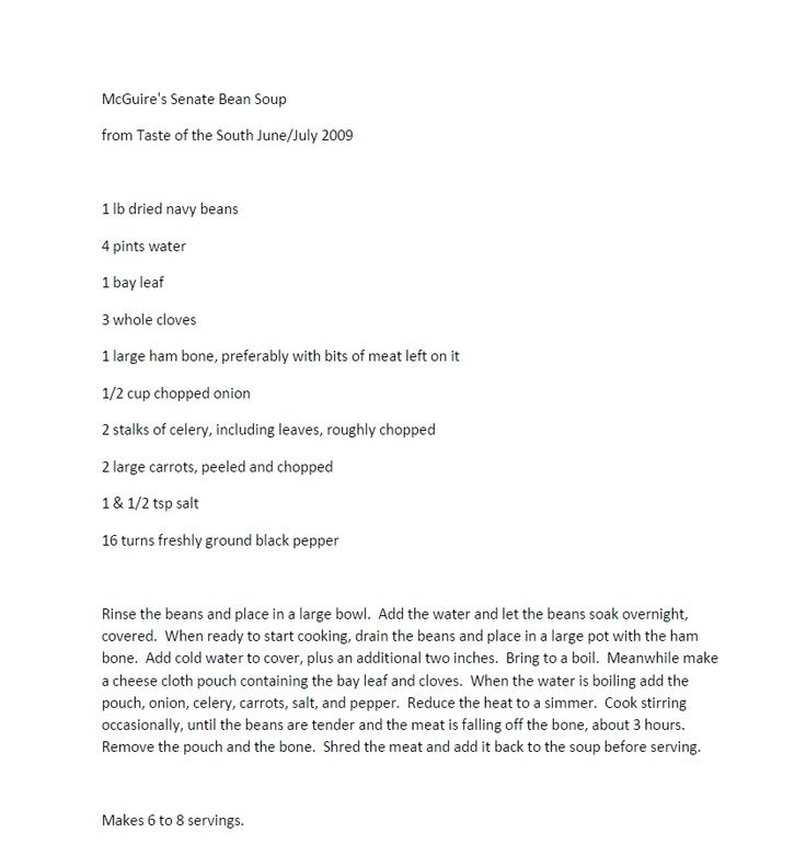 Senate Bean Soup Recipe From McGuireu0027s Irish Pub (Pensacola - sample retainer agreements
