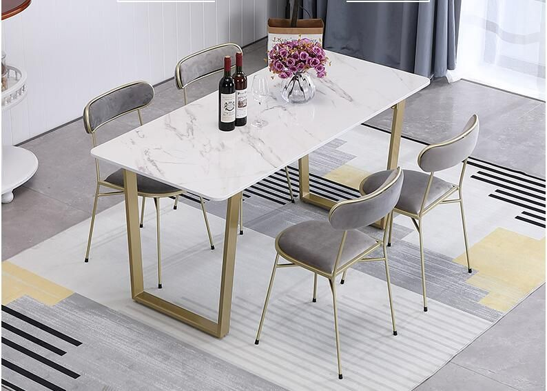 Modern And Contracted Metal Foot Nordic Marble Table White Household Use Small Family Chair Marble Top Dining Table Dining Table Marble Marble Dining Table Set