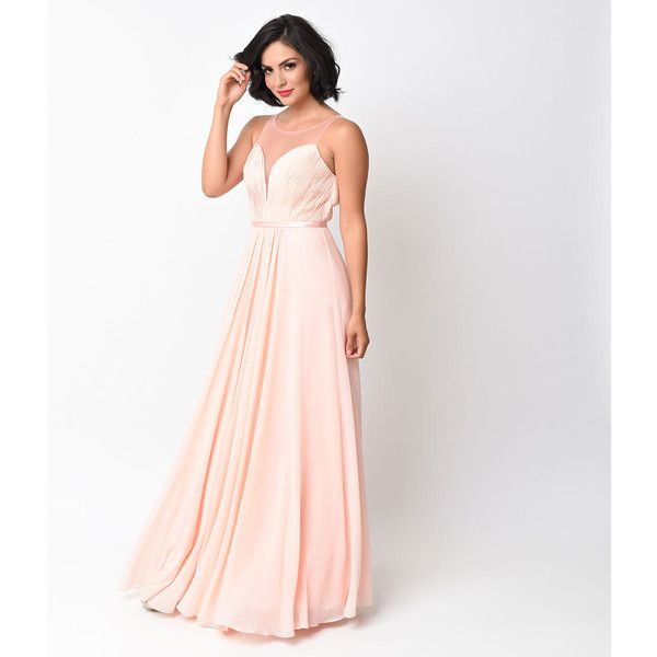 Blush Chiffon Illusion Sweetheart Long Gown ($100) ❤ liked on ...