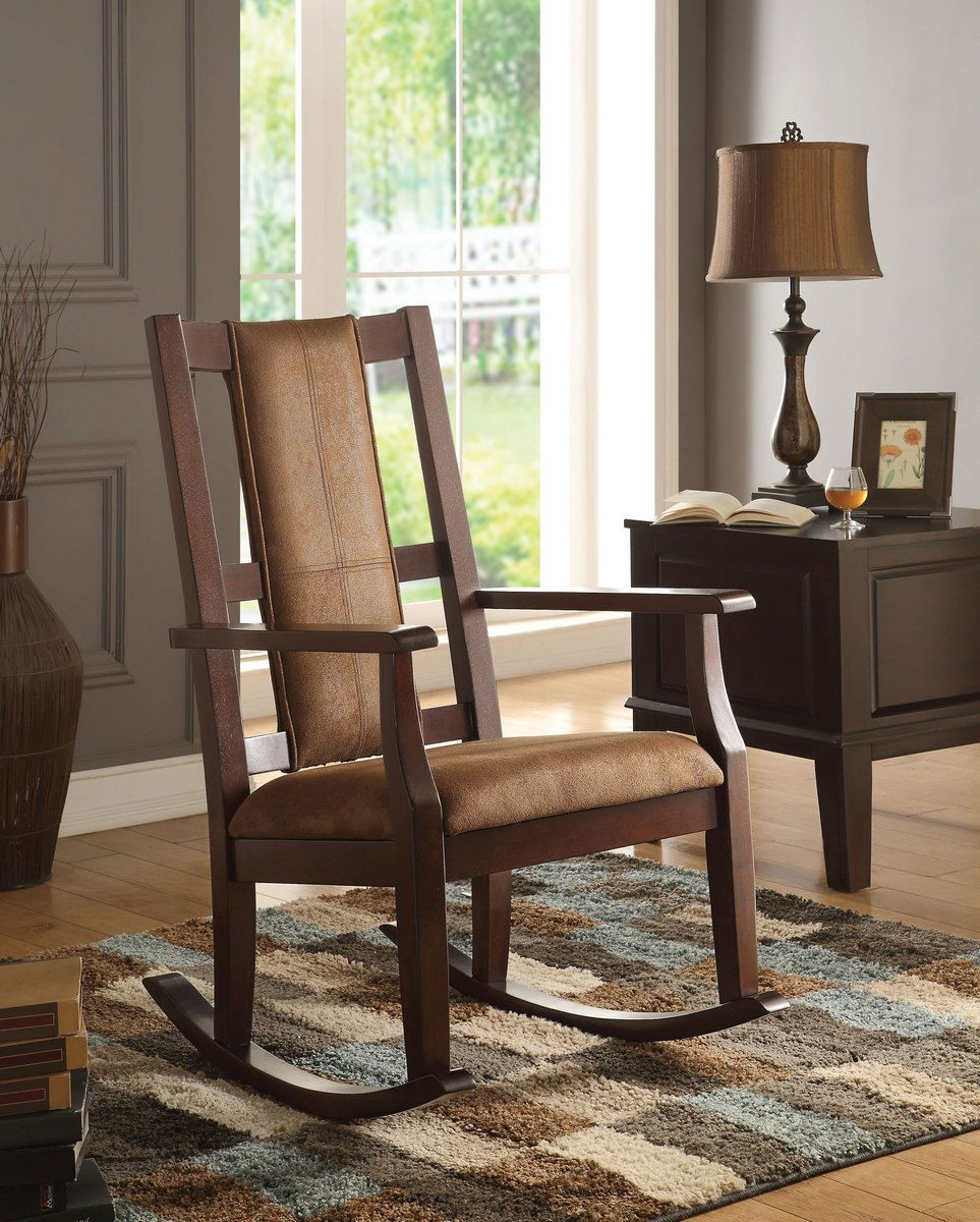 Butsea rocking chair in brown fabric espresso acme