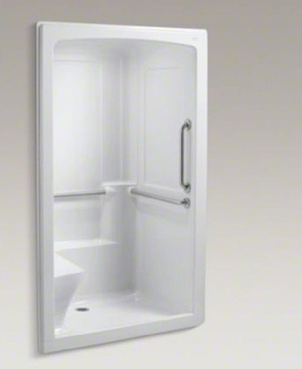 One piece shower with door one piece shower units for for Small 3 piece bathroom ideas