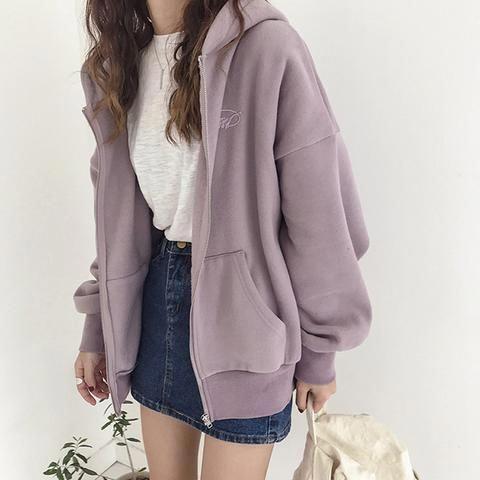 Front Zipper Hooded Sweatshirt Coat