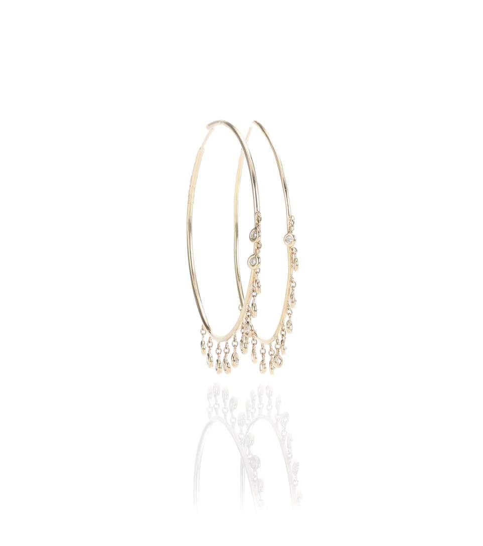 Jacquie Aiche Shaker Hoop Earrings with Diamond Bezels unHaU