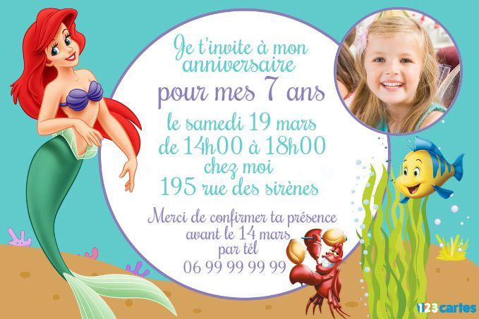 invitation anniversaire princesse ariel