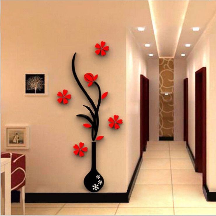 5 Size Colorful Flower Vase 3d Acrylic Decoration Wall Sticker Diy Art Wall Poster Home Decor Bedroom Wallstick Takofashion Women S Clothing Fashion Onlin Wall Stickers Home Decor Wall