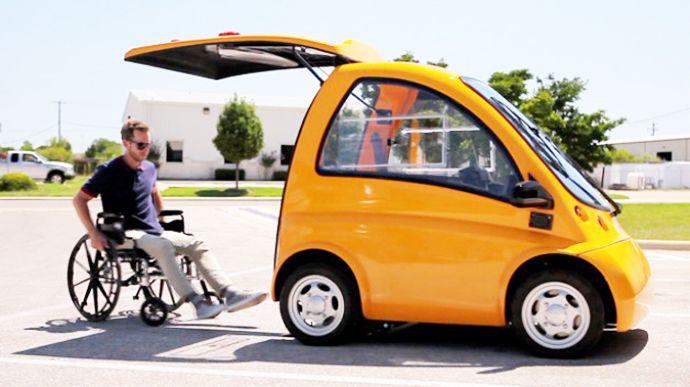 Kenguru Ev Electric Car An Ideal Transportation Solution For Wheelchair Drivers Electric Car Design Electric Car Transportation Solutions