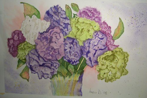 Hydrangeas In Water- A Watercolor Painting   | Angelas_Adornments - Painting on ArtFire