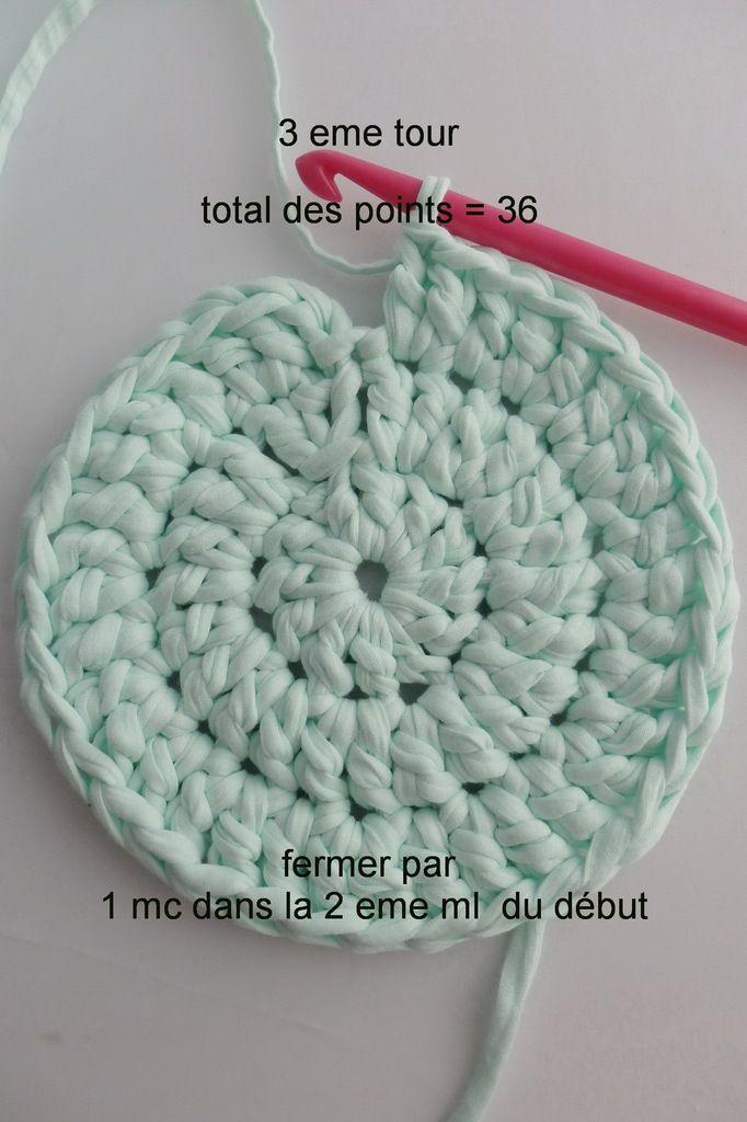 tutoriel pour un tapis rond crochet en brides laine pinterest crochet tricot et tricot. Black Bedroom Furniture Sets. Home Design Ideas