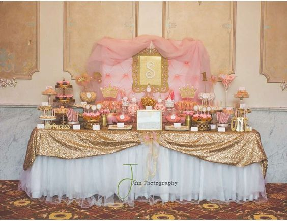 Princess 1st Birthday Party Dessert Table Pink And Gold