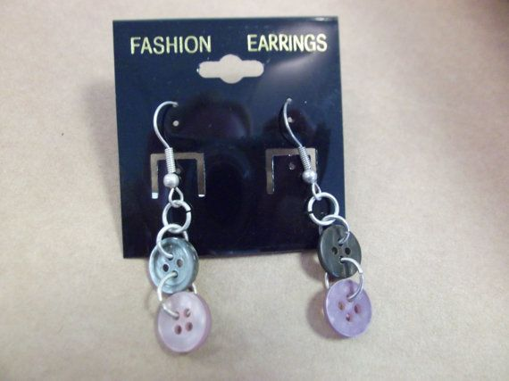 Dangle button earrings  dark pearl and lilac pink by HayleyMallett