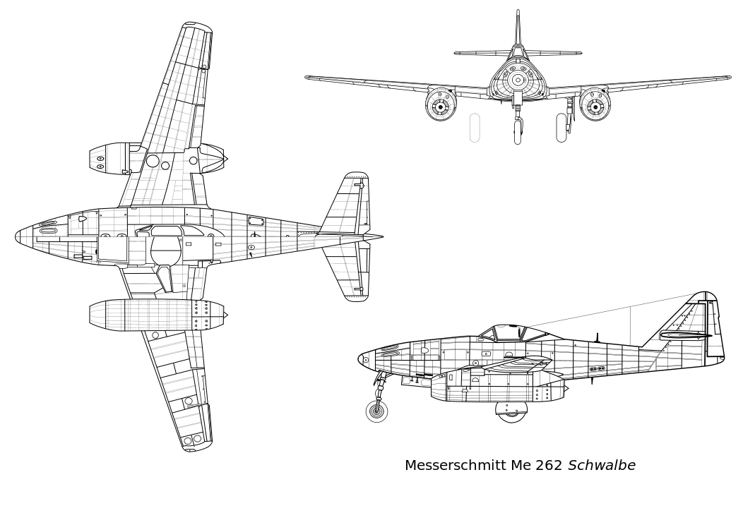 orthographically projected diagram of the messerschmitt me