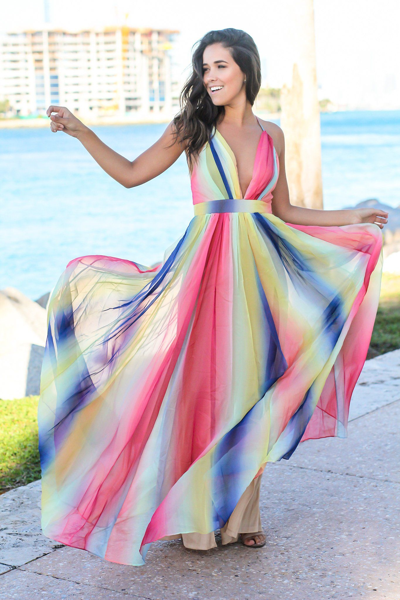 3b93f002fe Rainbow Maxi Dress with Criss Cross Back in 2019