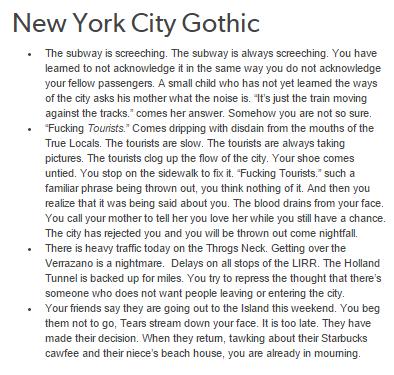 New York City Gothic / Regional Gothic | story inspiration