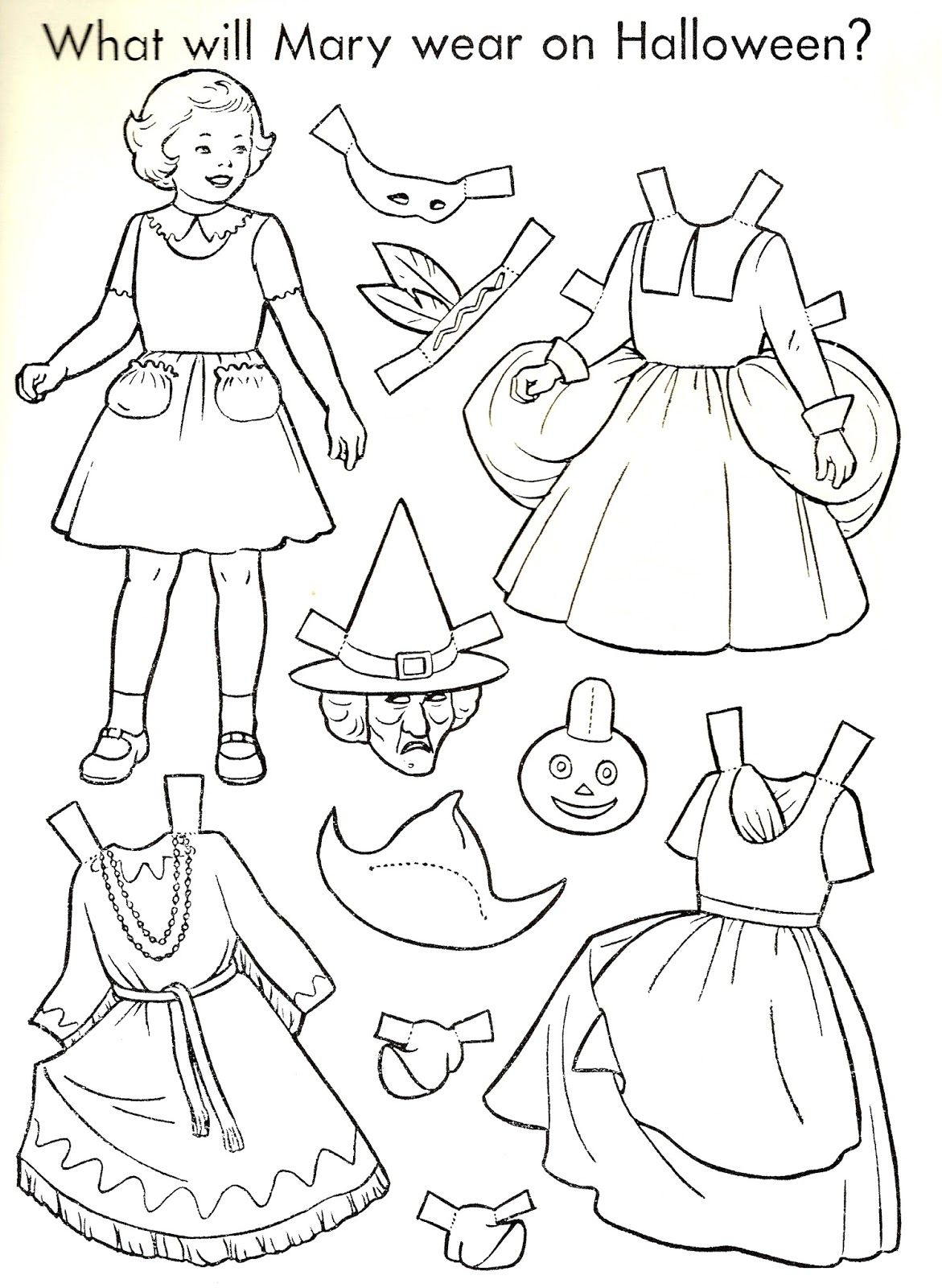 Halloween Paper Doll To Color