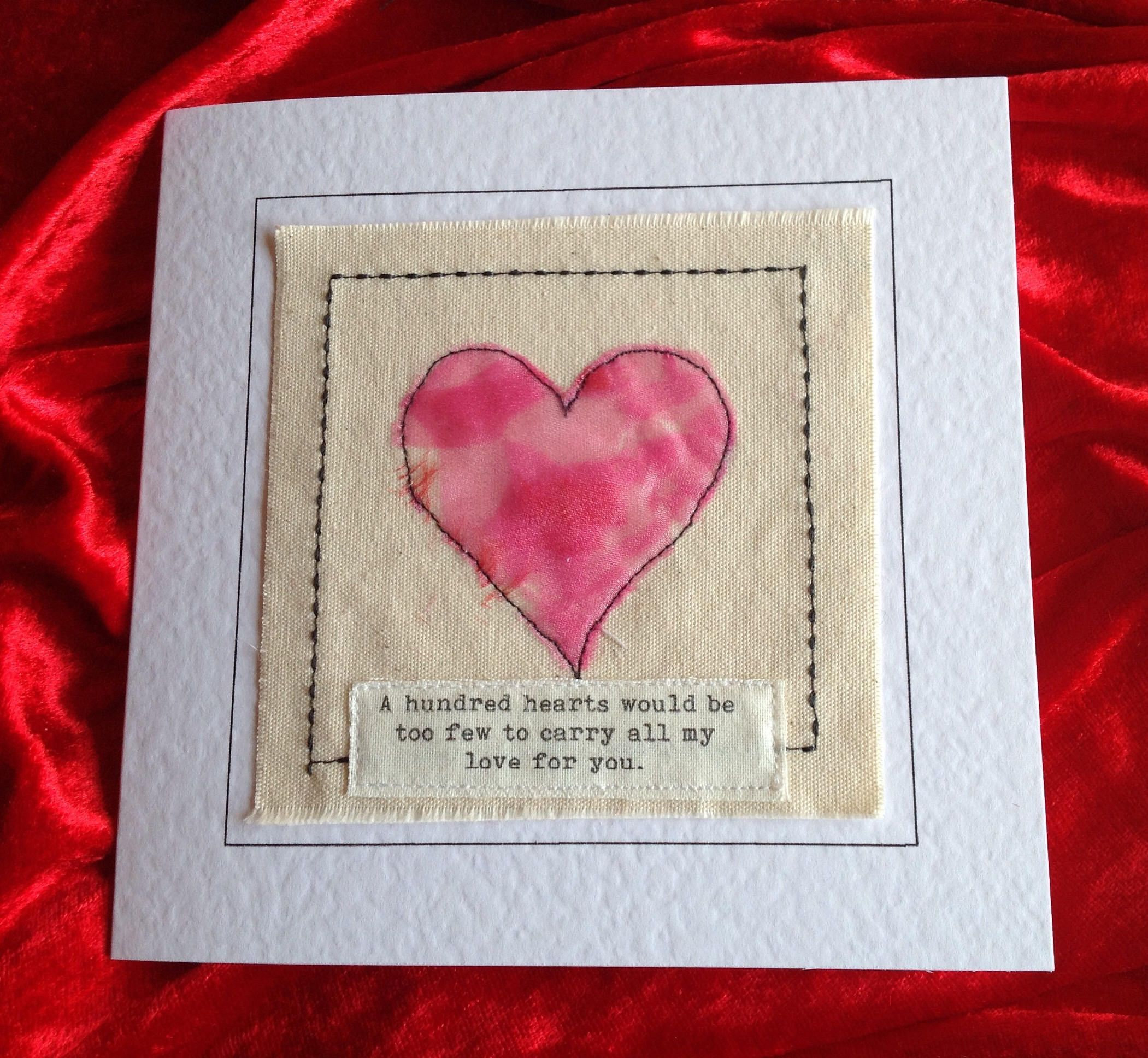 Romantic and unique valentine card created with fabric and romantic and unique valentine card created with fabric and embroidery for lover love quote handmade kristyandbryce Choice Image