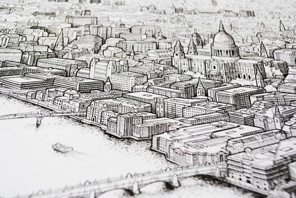 Panoramic pen drawing of London (work in progress) on Drawing Served