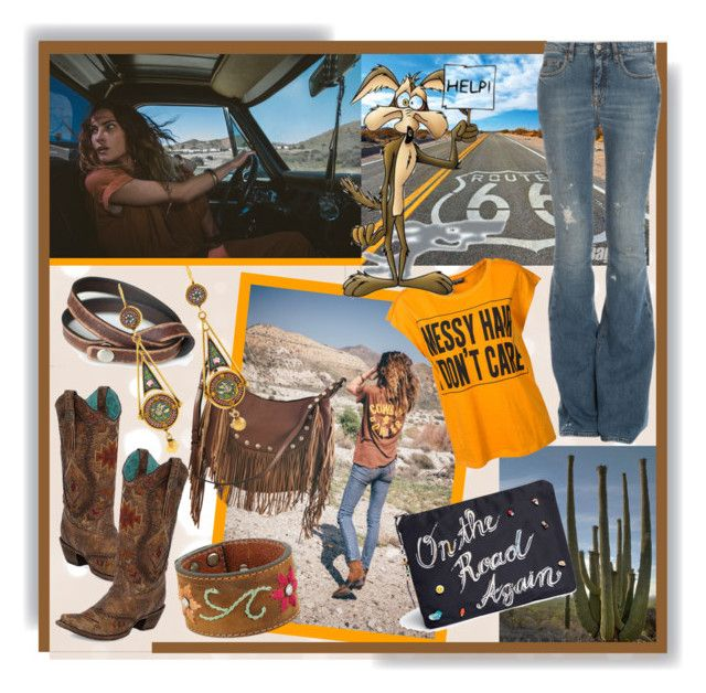 """""""Happy Labor Day! """"On The Road Again"""""""" by calamity-jane-always ❤ liked on Polyvore featuring Corral, Liquorish, M&F Western, NOVICA, Sally&Circle, Venessa Arizaga, dVb Victoria Beckham, denim, jeans and fashionset"""