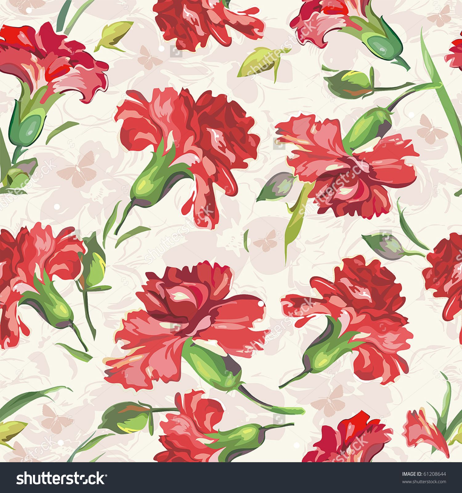 Red Carnations on floral background with butterflies