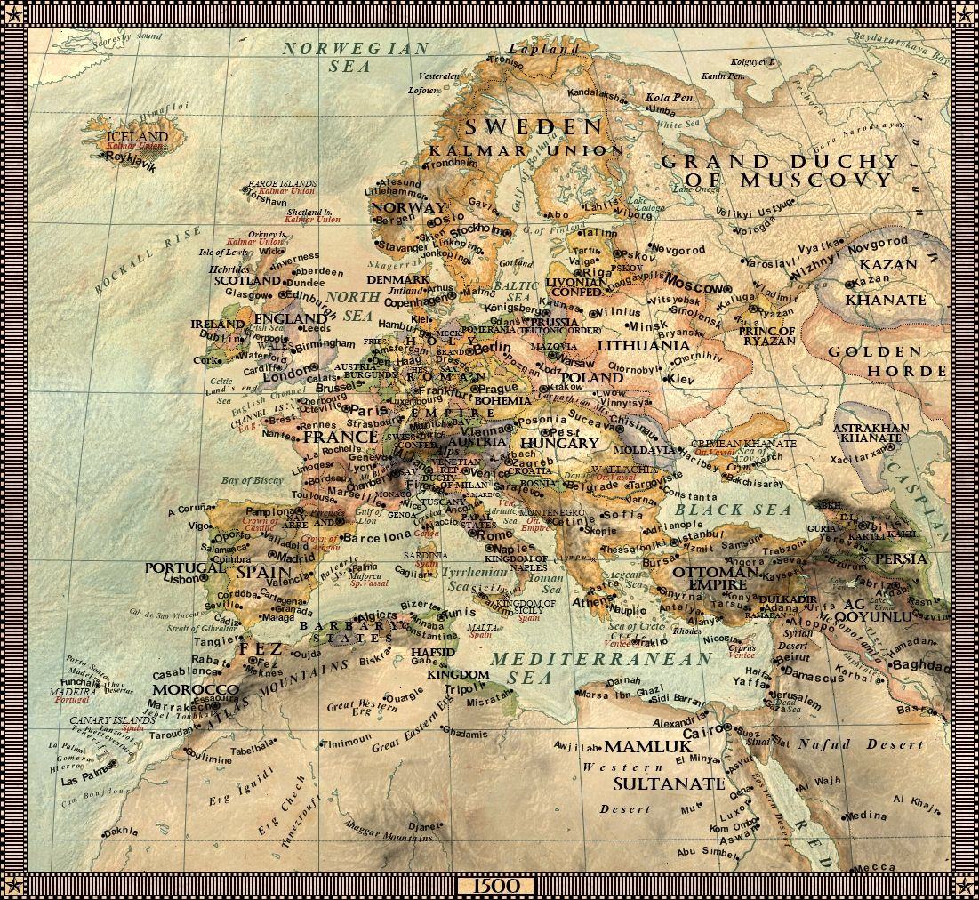 Europe In 1500 1500 1599 Map Historical Maps Antique Maps