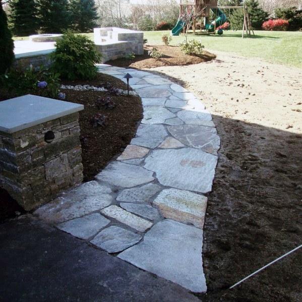 Top 40 Best Flagstone Walkway Ideas Hardscape Path Designs In 2020 Flagstone Walkway Stepping Stone Pathway Stone Pathway