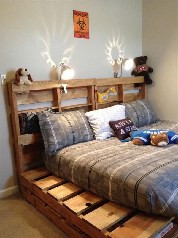Cama Juvenil con Cabecera de Palets | Muebles con Palets | Pinterest ...