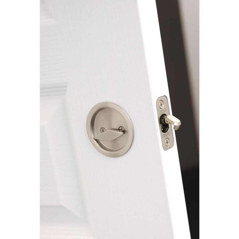 Kwikset round satin nickel bedbath handle pocket door