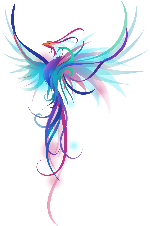 Fantastic Blue-Pink Phoenix A beautiful flying pho