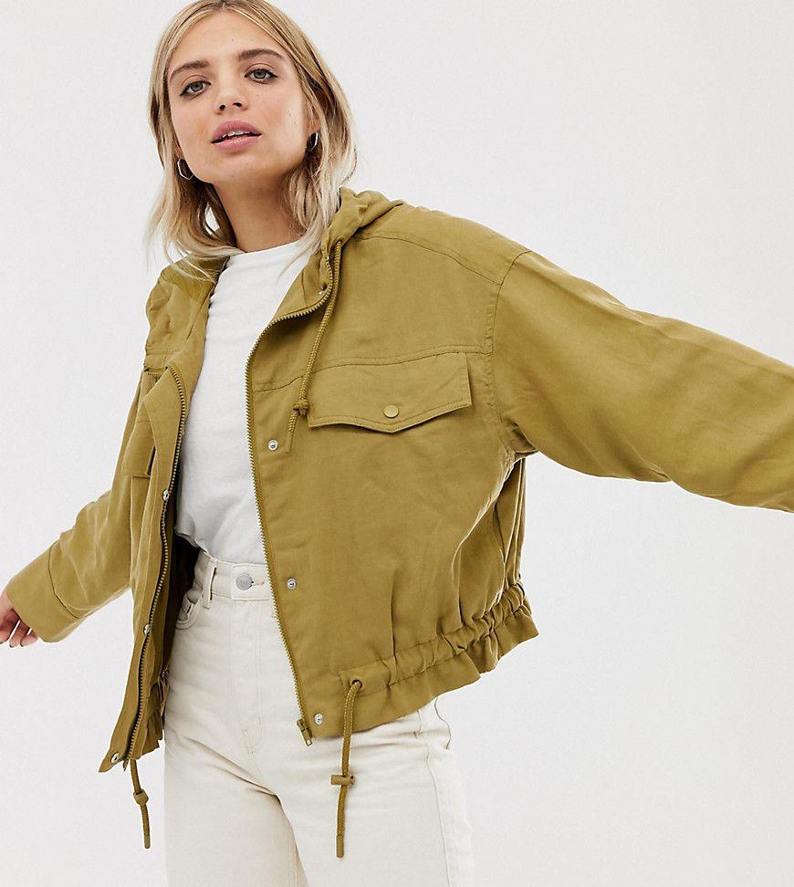Weekday Lightweight Hooded Bomber Jacket With Drawstring In Olive Green Hooded Bomber Jacket Clothes Olive Bomber Jacket [ 972 x 870 Pixel ]